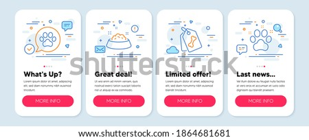 Set of Animals icons, such as Pet tags, Pets care, Dog feeding symbols. Mobile screen banners. Pet friendly line icons. Dog bone, Pets bowl. Pet tags icons. Mobile screen mockup carousel. Vector