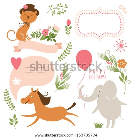 set of animals illustrations