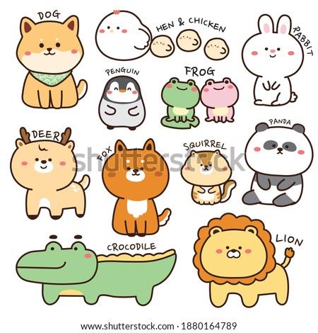 Set of animals in cartoon.Wild animal isolated.Zoo concept.Pet.Collection.Kawaii.Dog,hen,rabbit,deer,penguin,frog,bear,fox,lion,crocodile,squirrel.Graphic design.Vector.Illustration.