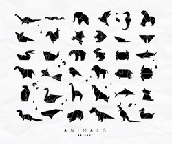 Set of animals in flat style origami snake, elephant, bird, seahorse, frog, fox, mouse, butterfly, pelican, wolf, bear, rabbit, crab monkey pig turtle kangaroo on white background