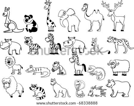 set of animals including lion, kangaroo, giraffe, elephant, camel, antelope, hippo, tiger, zebra, rhinoceros