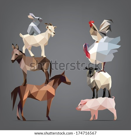 Set of animals living on the farm vector illustration