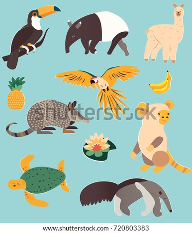 Set of animals of South America