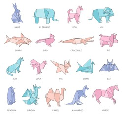 Set of animals origami figures in geometric flat outline style, vector illustration isolated on white background. Origami paper art icons collection or polygonal design of animals