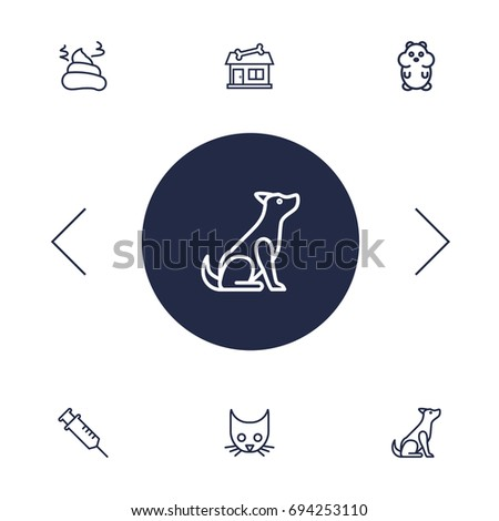 set of 6 animals outline icons