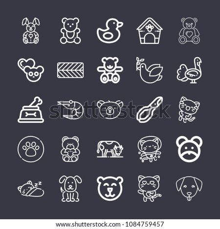 set of 25 animals outline icons