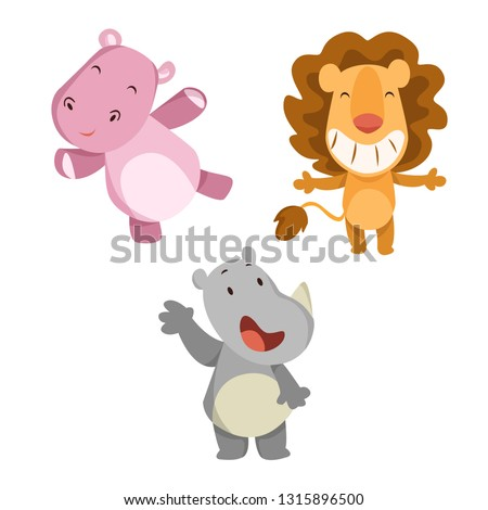 Set of animals vector cartoon illustration. Rhino cartoon, lion cartoon and hippopotamus cartoon illustration.