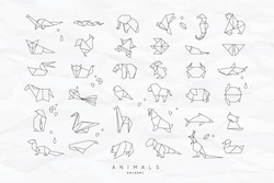 Set of animals white in flat style origami snake, elephant, bird, seahorse, frog, fox, mouse, butterfly, pelican, wolf, bear, rabbit, crab, monkey, pig, turtle, kangaroo on crumpled paper background