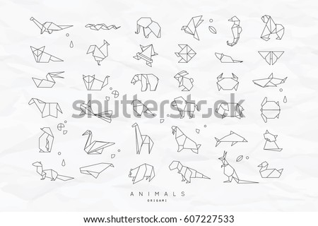 Set Of Animals White In Flat Style Origami Snake Elephant Bird Seahorse