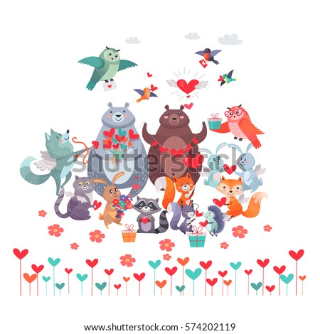 set of animals with hearts