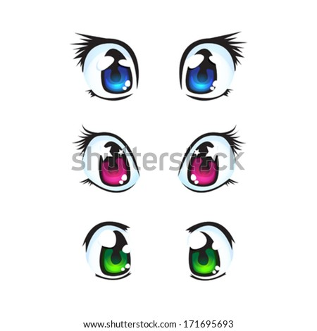 set of anime eyes