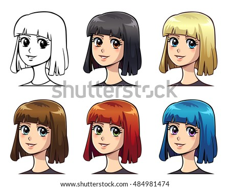 set of anime girl with color