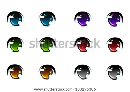 set of anime style eyes of