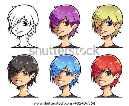 set of anime teen's head with