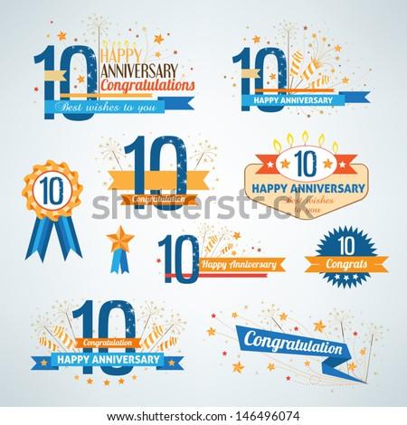 Set of anniversary design elements Foto d'archivio ©