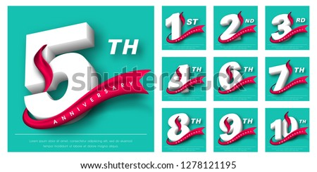 Set of Anniversary emblems , anniversary template design for web, game ,Creative poster, booklet, leaflet, flyer, magazine, invitation card