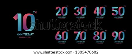 Set of anniversary  icon. Flat design