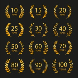 Set of anniversary laurel wreaths. Golden anniversary symbols isolated on black background 10,15,20,25, 30,40,50,60,70,80,90,100 years. Template for award and congratulation design Vector illustration