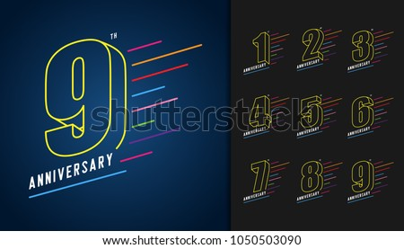 Set of anniversary logotype. Colorful anniversary celebration icons design for booklet, leaflet, magazine, brochure poster, web, invitation or greeting card. Vector illustration.