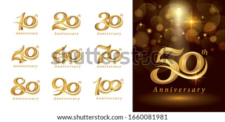Set of Anniversary logotype design, Elegant Classic Logo, Vintage and Retro Serif Number Letters, Celebrate Anniversary Logo silver and golden for Congratulation celebration event, invitation,greeting