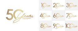 set of anniversary logotype style with handwriting golden color for celebration event, wedding, greeting card, and invitation