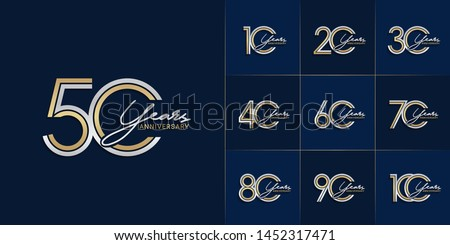 set of anniversary logotype with multiple line style gold and silver color for celebration event, greeting card, invitation and wedding celebration