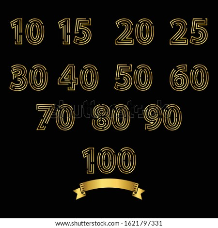 Set of Anniversary numbers in a golden color. Template design for web. For creative poster, booklet, leaflet, flyer, magazine, invitation card