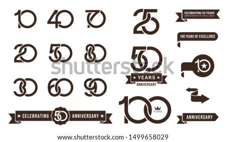 Set of anniversary pictogram icon and anniversary banner collection. Flat design. 10, 20, 30, 40, 50, 60, 70, 80, 90, years logo label, monochrome stamp.