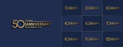 Set of Anniversary vector template design with multiple line number color for precious celebration event