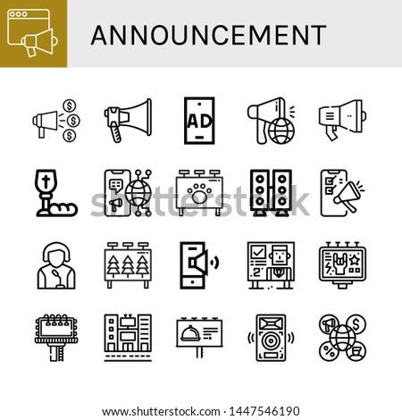 Set of announcement icons such as Loudspeaker, Announce, Megaphone, Ad, Communion, Billboard, Speaker, Speakers , announcement