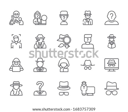 Set of anonymous Related Vector Line Icons. Includes such Icons as  incognito, secrecy, private, invisible, anonymous user and more.