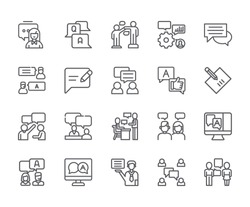 Set of answer Related Vector Line Icons. Includes such Icons as note, information, question, consultation, message, dialogue and more. - vector