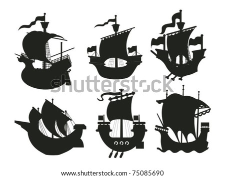 Set of antique and medieval ship silhouettes