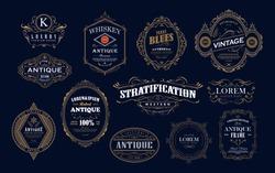 Set of antique frame whiskey label vintage border retro vector illustration