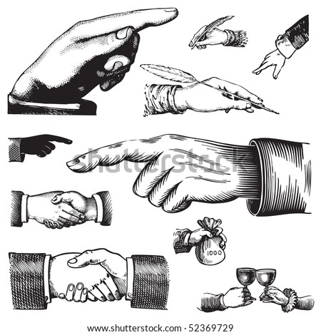 set of antique hands engravings, scalable and editable vector illustrations