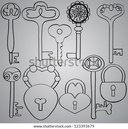 set of antique keys and locks