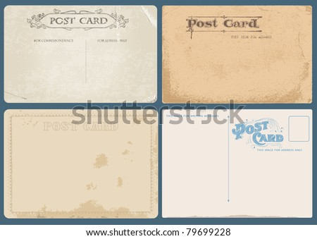 Set of Antique postcards in vector with Postal stamps - stock vector