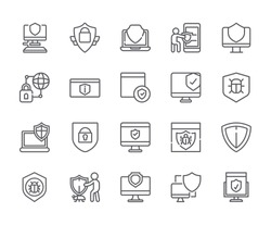 Set of antivirus Related Vector Line Icons. Includes such Icons as note, data protection, antiviral, security and more. - vector