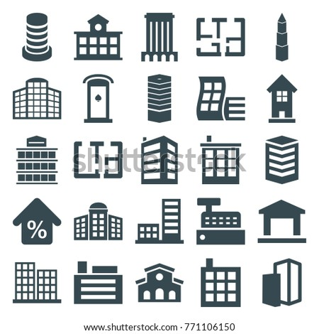 Set of 25 apartment filled icons such as modern curved building, business centre, building   isolated  sign symbol, business center, building, mortgage, plan