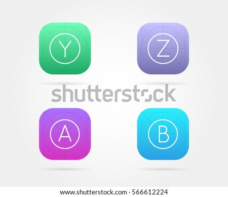 set of app icon template with...