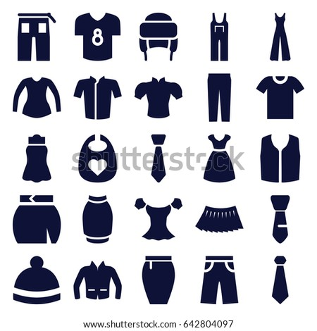 set of 25 apparel filled icons