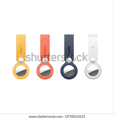 Set of Apple Airtags, Vector illustration of a yellow, orange, blue and white key ring, lost and found devise, NFC tracker, chip, track and trace Stock photo ©