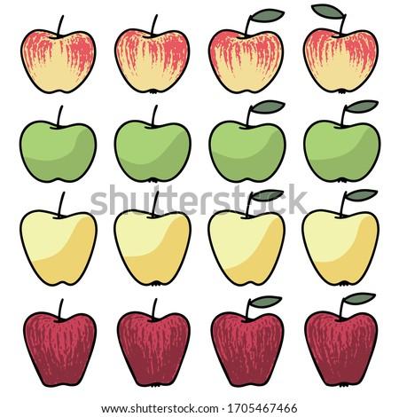 set of apples hand drawn