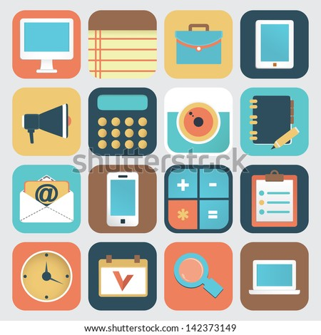 Set of application of social media. Flat icons - vector icons
