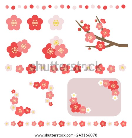set of apricot flower   vector