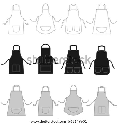 set of aprons isolated on white