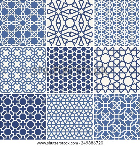 set of arabic seamless patterns