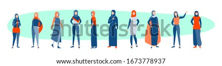 Set of arabic women concept. Collection of arabic women muslims in hidjab. Saudi girls stand in different traditional islamic clothes. Females from arabia wearing headscarf. Flat vector illustration Stock fotó ©