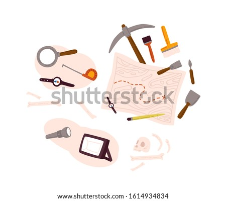 Set of archeology equipment icon with digging out tools, ancient artifacts, map isolated on white background. Collection of history research element for paleontology search vector flat illustration. Сток-фото ©
