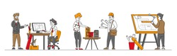 Set of Architects and Engineer Characters Working on Project Painting Plan on Blueprint and Presenting House Mock Up. Building and Engineering Construction Works. Linear People Vector Illustration
